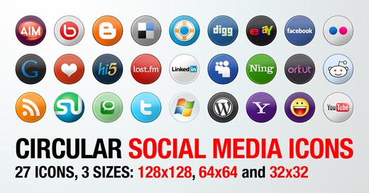 Circular Social Media Icons