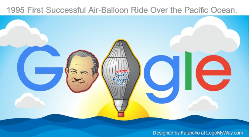 1995 First Successful Air-Balloon Ride Over the Pacific Ocean Logo