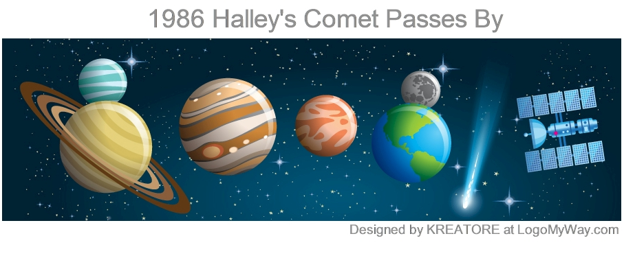 1986 Halleys Comet Passes By Logo