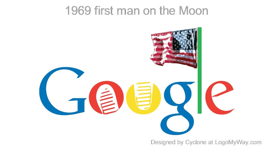 1969 History Google Logo first man on the Moon